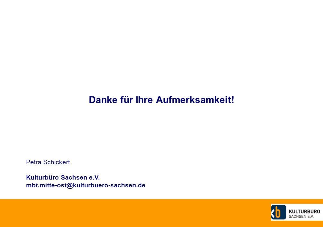 Danke für Ihre Aufmerksamkeit.Petra Schickert Kulturbüro Sachsen e.V.