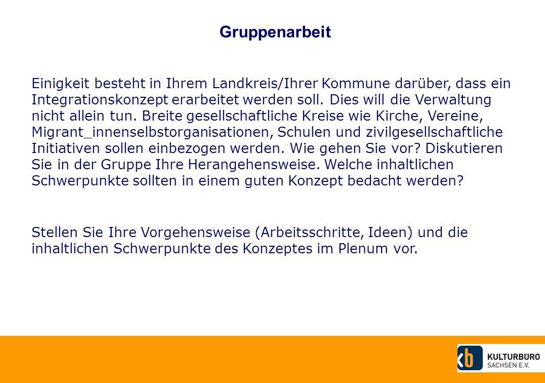 Gruppenarbeit Einigkeit besteht in Ihrem Landkreis/Ihrer Kommune darüber, dass ein Integrationskonzept erarbeitet werden soll.