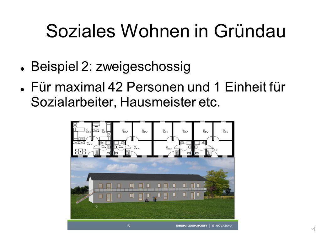 4 Soziales Wohnen in Gründau Beispiel 2: zweigeschossig Für maximal 42 Personen und 1 Einheit für Sozialarbeiter, Hausmeister etc.