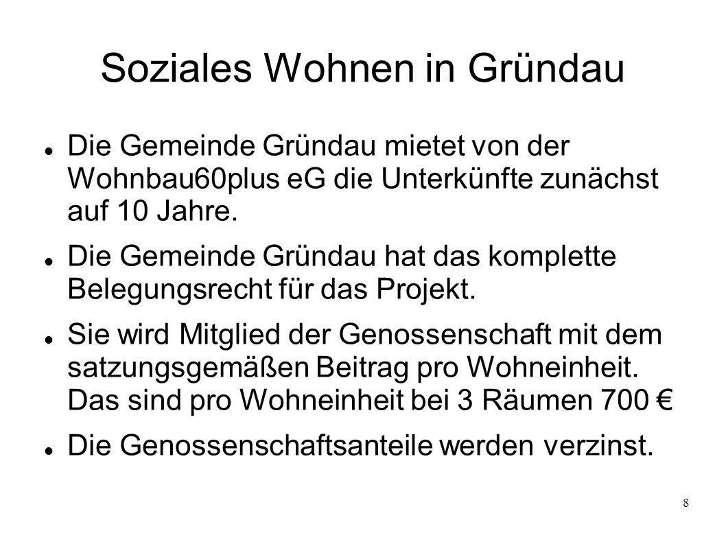8 Soziales Wohnen in Gründau Die Gemeinde Gründau mietet von der Wohnbau60plus eG die Unterkünfte zunächst auf 10 Jahre.
