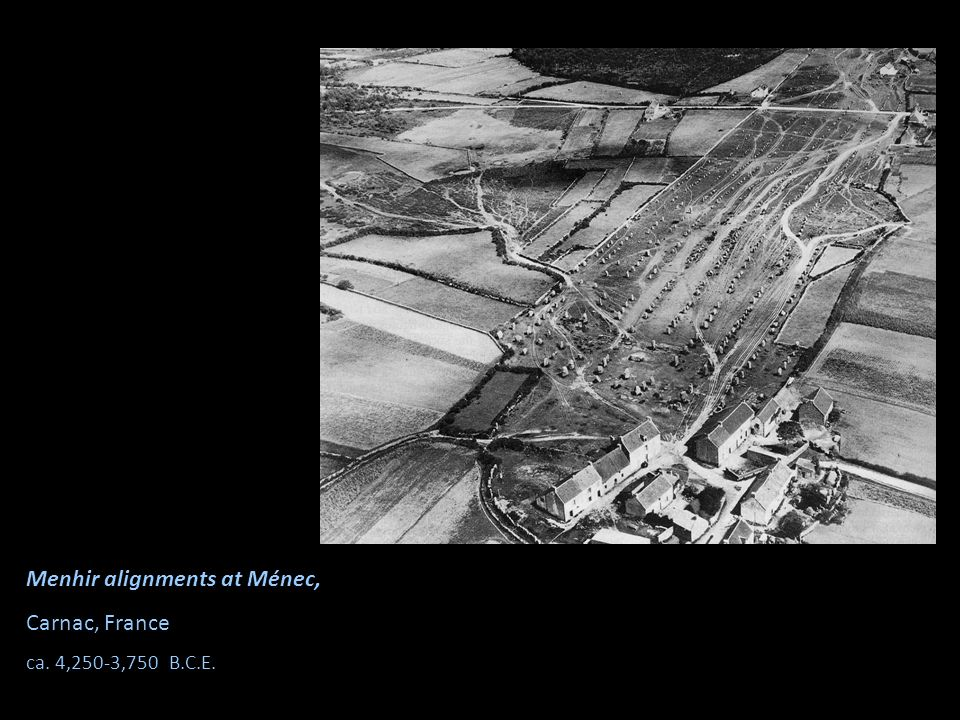 Menhir alignments at Ménec, Carnac, France ca. 4,250-3,750 B.C.E.