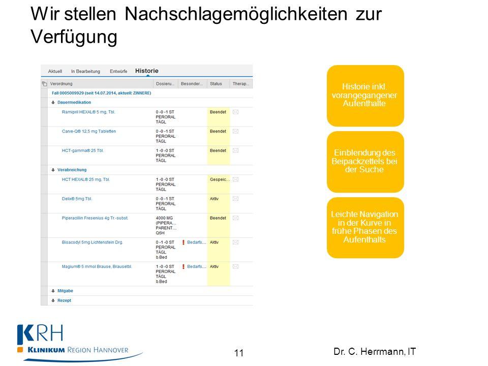 Dr. C. Herrmann, IT Wir stellen Nachschlagemöglichkeiten zur Verfügung Historie inkl. vorangegangener Aufenthalte Einblendung des Beipackzettels bei d