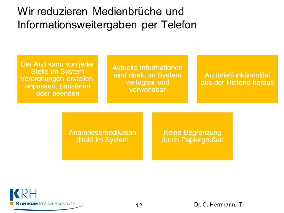 Dr. C. Herrmann, IT Wir reduzieren Medienbrüche und Informationsweitergaben per Telefon Der Arzt kann von jeder Stelle im System Verordnungen erstelle