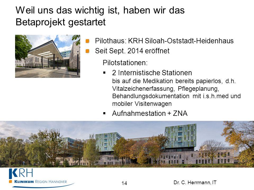 Dr. C. Herrmann, IT Weil uns das wichtig ist, haben wir das Betaprojekt gestartet 14 Pilothaus: KRH Siloah-Oststadt-Heidenhaus Seit Sept. 2014 eröffne