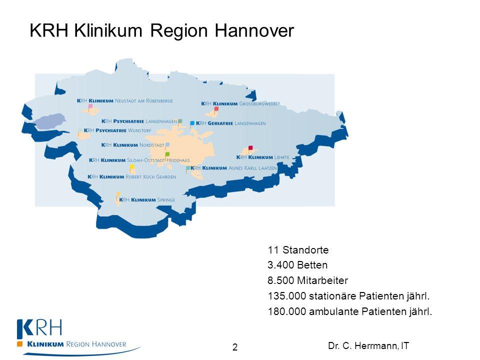 Dr. C. Herrmann, IT KRH Klinikum Region Hannover 11 Standorte 3.400 Betten 8.500 Mitarbeiter 135.000 stationäre Patienten jährl. 180.000 ambulante Pat