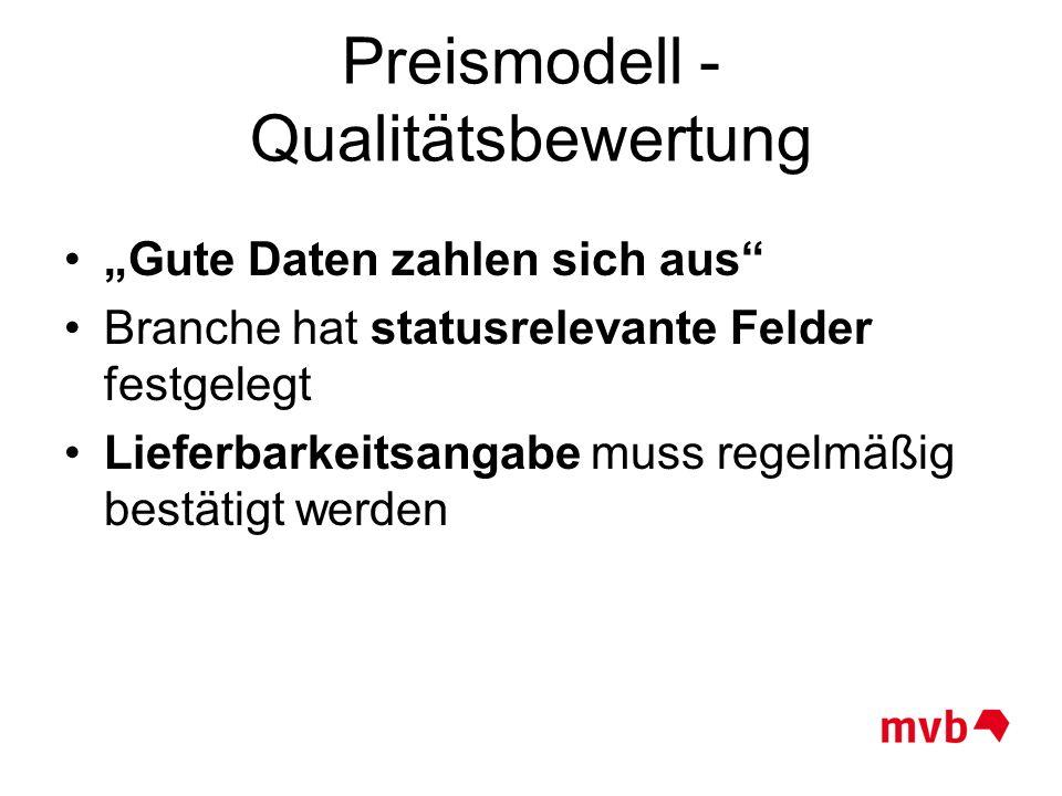 """Preismodell - Qualitätsbewertung """"Gute Daten zahlen sich aus"""" Branche hat statusrelevante Felder festgelegt Lieferbarkeitsangabe muss regelmäßig bestä"""