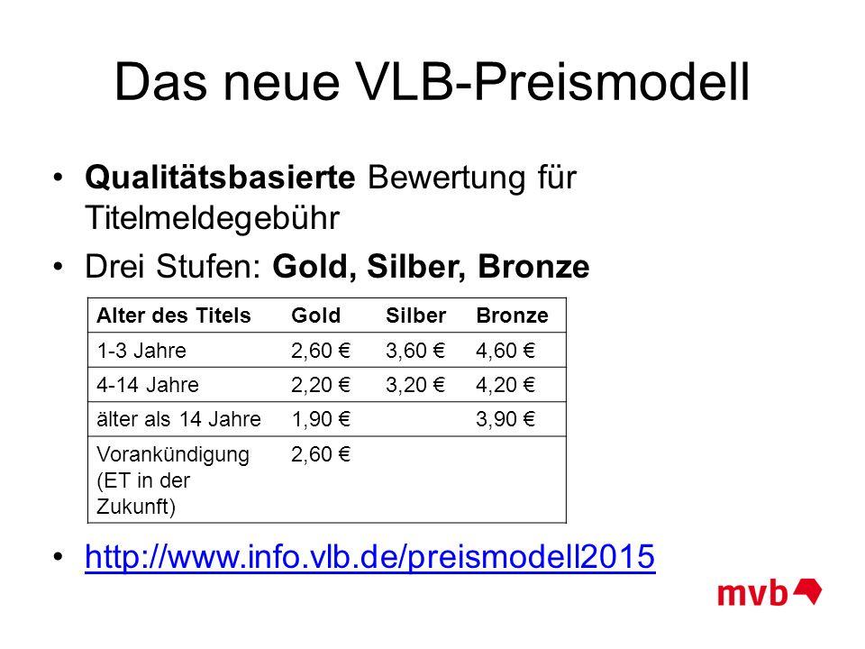 Das neue VLB-Preismodell Qualitätsbasierte Bewertung für Titelmeldegebühr Drei Stufen: Gold, Silber, Bronze http://www.info.vlb.de/preismodell2015 Alt
