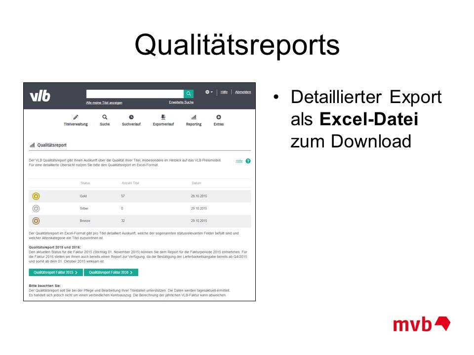 Qualitätsreports Detaillierter Export als Excel-Datei zum Download