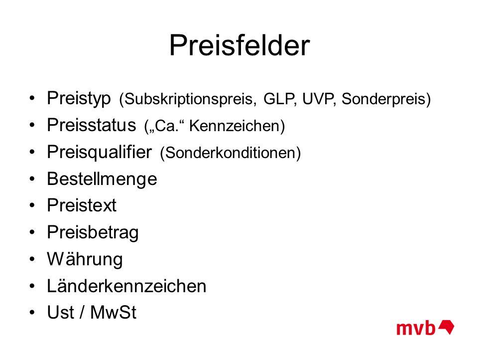 """Preisfelder Preistyp (Subskriptionspreis, GLP, UVP, Sonderpreis) Preisstatus (""""Ca."""" Kennzeichen) Preisqualifier (Sonderkonditionen) Bestellmenge Preis"""
