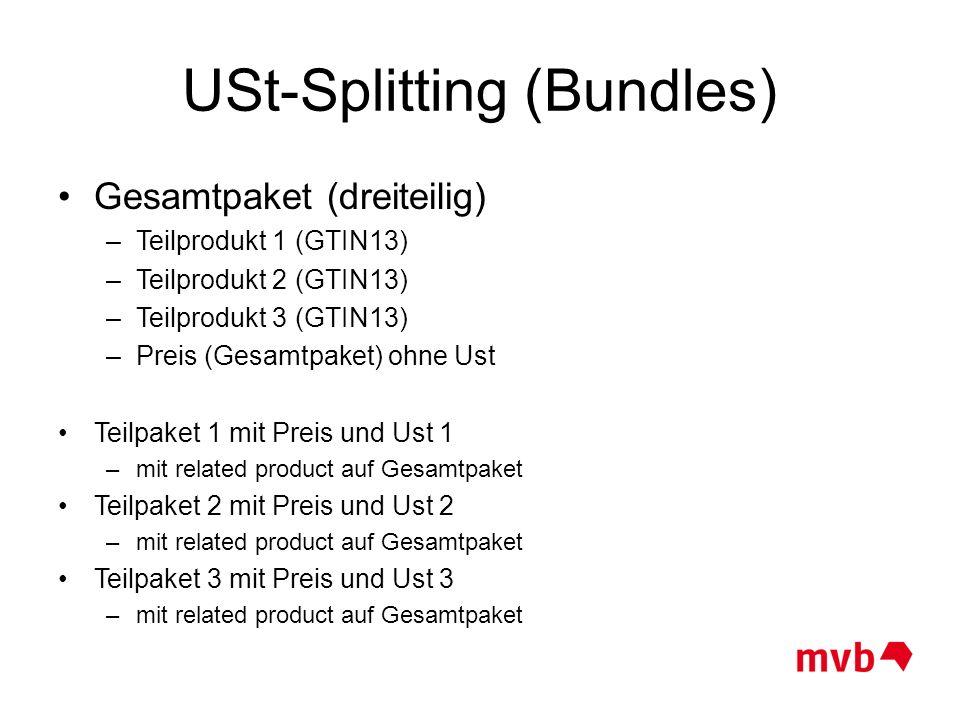 USt-Splitting (Bundles) Gesamtpaket (dreiteilig) –Teilprodukt 1 (GTIN13) –Teilprodukt 2 (GTIN13) –Teilprodukt 3 (GTIN13) –Preis (Gesamtpaket) ohne Ust