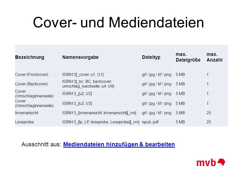 Cover- und Mediendateien BezeichnungNamensvorgabeDateityp max. Dateigröße max. Anzahl Cover (Frontcover)ISBN13[_cover, u1, U1]gif / jpg / tif / png5 M