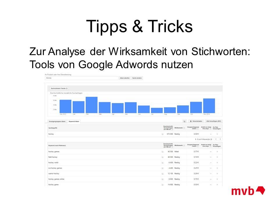 Zur Analyse der Wirksamkeit von Stichworten: Tools von Google Adwords nutzen