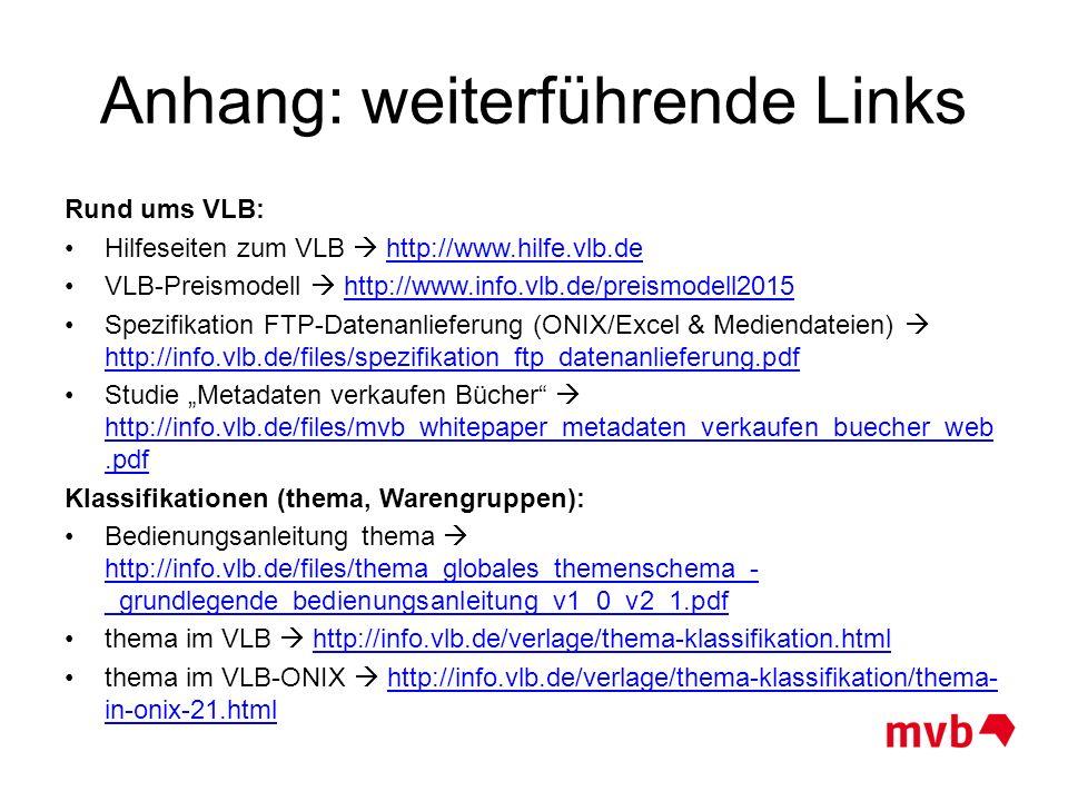 Anhang: weiterführende Links Rund ums VLB: Hilfeseiten zum VLB  http://www.hilfe.vlb.dehttp://www.hilfe.vlb.de VLB-Preismodell  http://www.info.vlb.