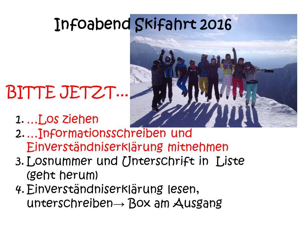 Infoabend Skifahrt 2016 1.…Los ziehen 2.…Informationsschreiben und Einverständniserklärung mitnehmen 3.Losnummer und Unterschrift in Liste (geht herum