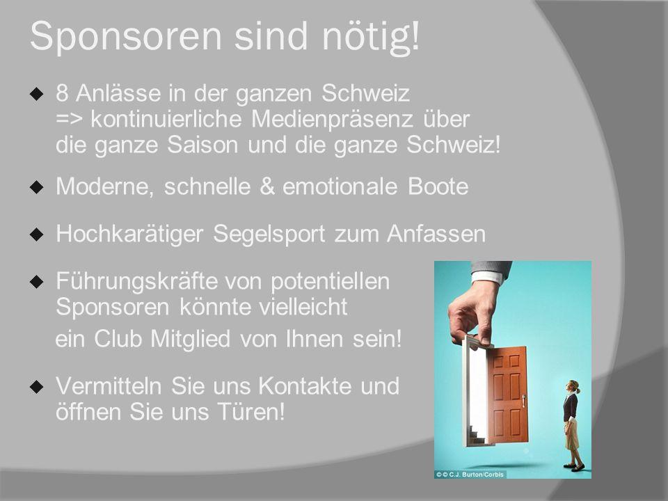 Sponsoren sind nötig!  8 Anlässe in der ganzen Schweiz => kontinuierliche Medienpräsenz über die ganze Saison und die ganze Schweiz!  Moderne, schne