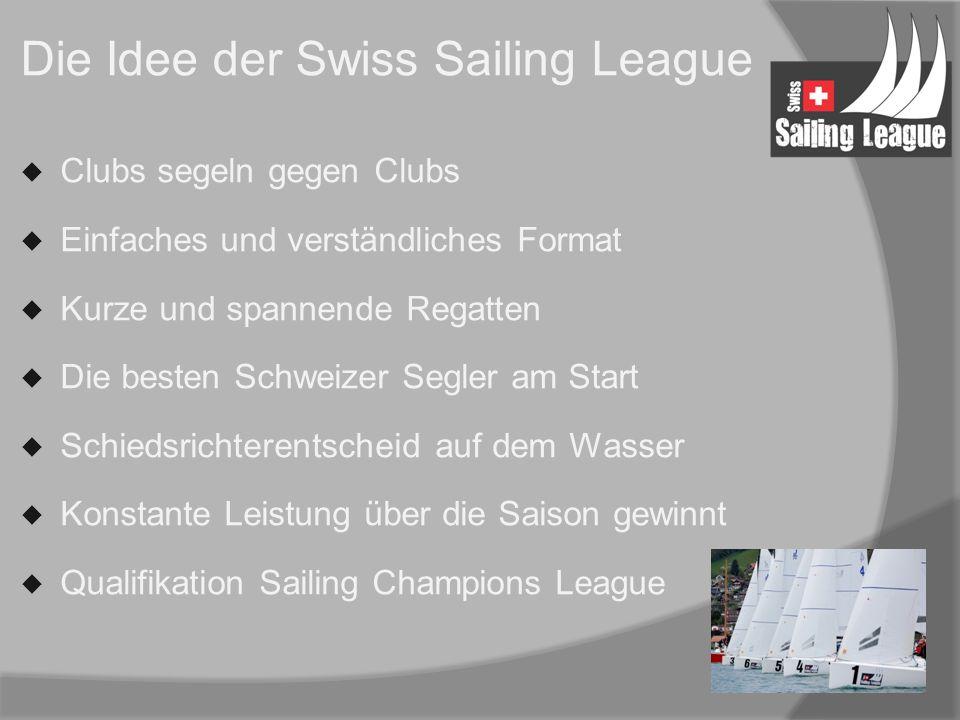 Die Idee der Swiss Sailing League  Clubs segeln gegen Clubs  Einfaches und verständliches Format  Kurze und spannende Regatten  Die besten Schweizer Segler am Start  Schiedsrichterentscheid auf dem Wasser  Konstante Leistung über die Saison gewinnt  Qualifikation Sailing Champions League