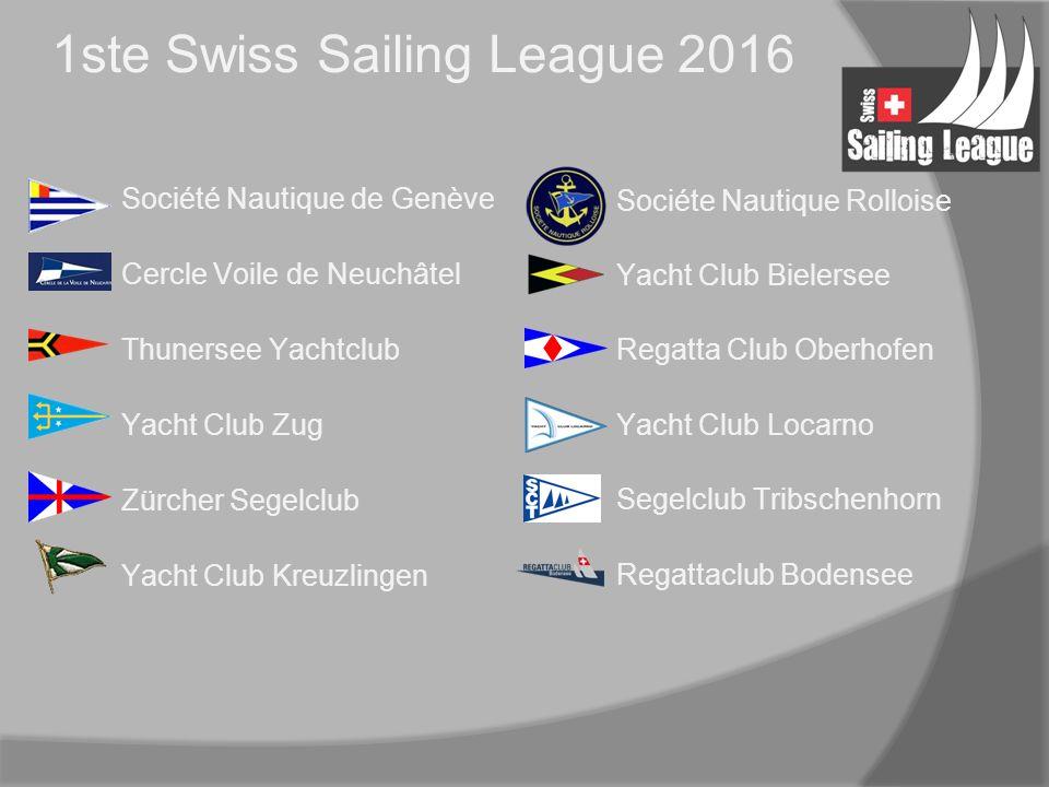 1ste Swiss Sailing League 2016 Société Nautique de Genève Cercle Voile de Neuchâtel Thunersee Yachtclub Yacht Club Zug Zürcher Segelclub Yacht Club Kreuzlingen Sociéte Nautique Rolloise Yacht Club Bielersee Regatta Club Oberhofen Yacht Club Locarno Segelclub Tribschenhorn Regattaclub Bodensee