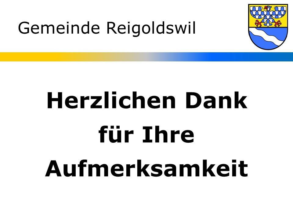 Gemeinde Reigoldswil Herzlichen Dank für Ihre Aufmerksamkeit