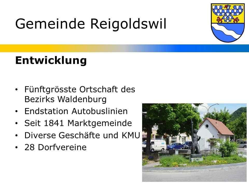 Gemeinde Reigoldswil Entwicklung Fünftgrösste Ortschaft des Bezirks Waldenburg Endstation Autobuslinien Seit 1841 Marktgemeinde Diverse Geschäfte und KMU 28 Dorfvereine
