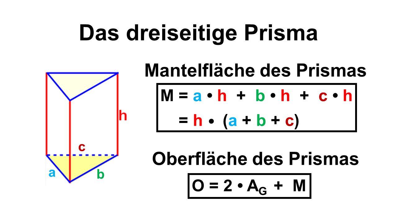 Das dreiseitige Prisma a b c Mantelfläche des Prismas Oberfläche des Prismas O = 2 A G + M