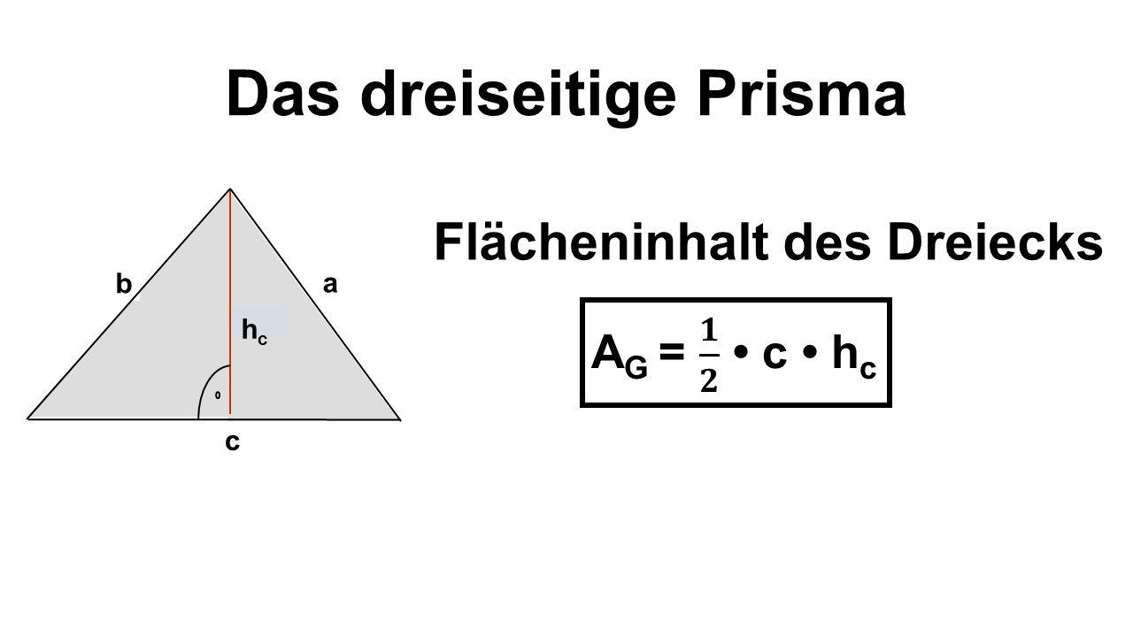 Das dreiseitige Prisma Flächeninhalt des Dreiecks b a c hchc