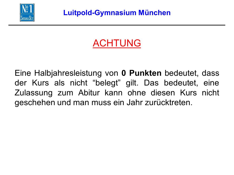 Luitpold-Gymnasium München ACHTUNG Eine Halbjahresleistung von 0 Punkten bedeutet, dass der Kurs als nicht belegt gilt.