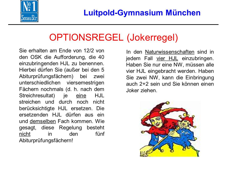 Luitpold-Gymnasium München OPTIONSREGEL (Jokerregel) Sie erhalten am Ende von 12/2 von den OSK die Aufforderung, die 40 einzubringenden HJL zu benennen.