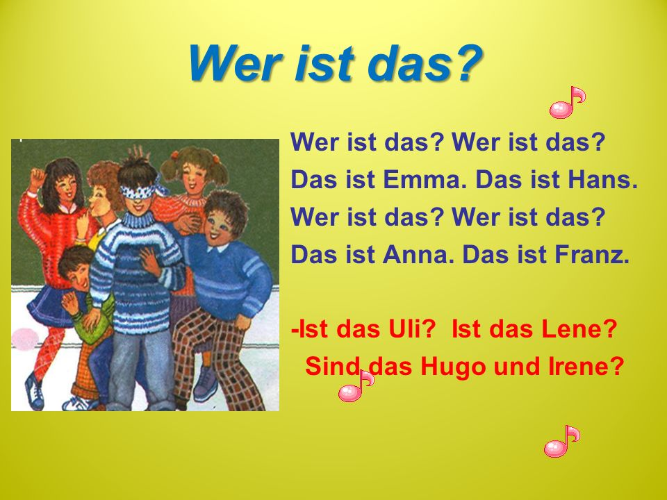 Wer ist das? Das ist Emma. Das ist Hans. Wer ist das? Das ist Anna. Das ist Franz. -Ist das Uli? Ist das Lene? Sind das Hugo und Irene?