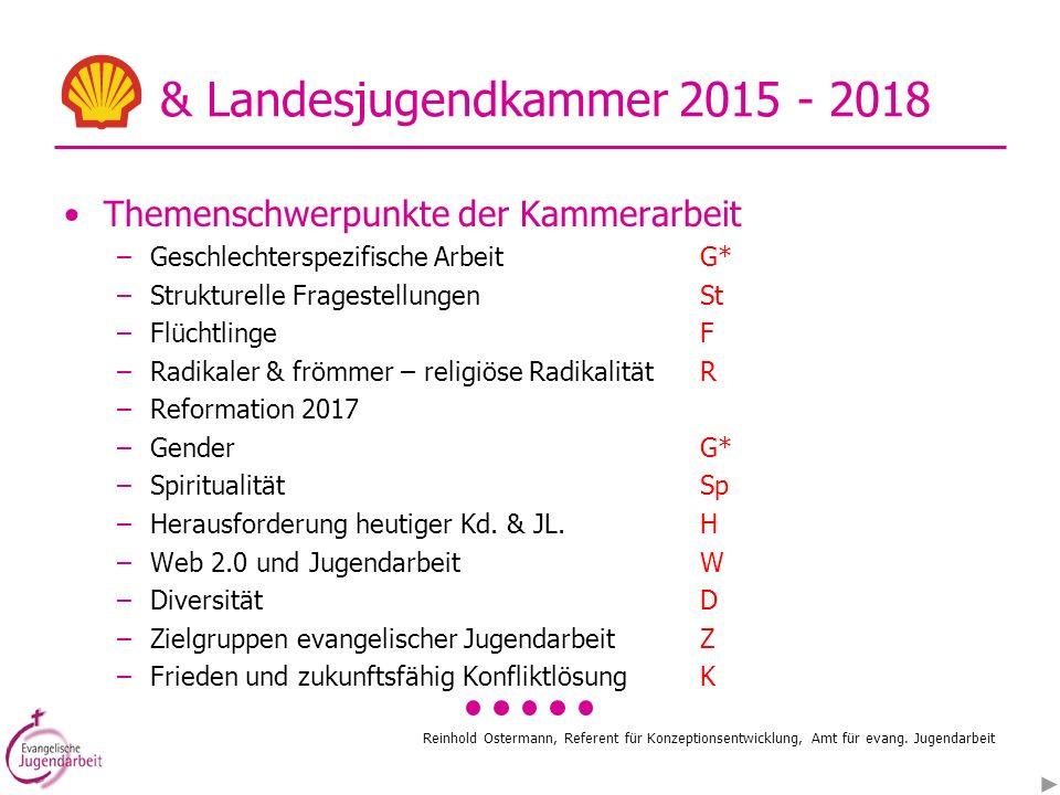 Reinhold Ostermann, Referent für Konzeptionsentwicklung, Amt für evang. Jugendarbeit & Landesjugendkammer 2015 - 2018 Themenschwerpunkte der Kammerarb