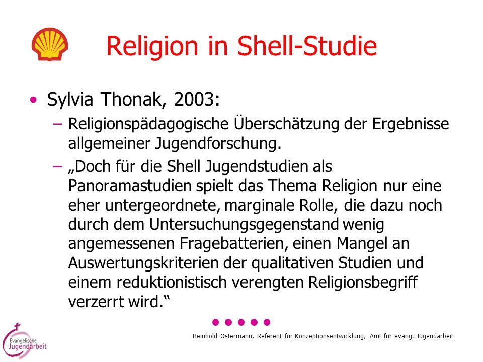 Reinhold Ostermann, Referent für Konzeptionsentwicklung, Amt für evang. Jugendarbeit Religion in Shell-Studie Sylvia Thonak, 2003: –Religionspädagogis