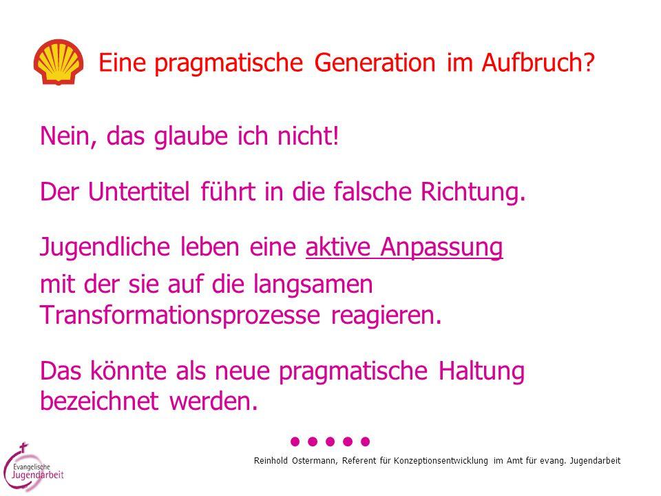 Reinhold Ostermann, Referent für Konzeptionsentwicklung im Amt für evang. Jugendarbeit Eine pragmatische Generation im Aufbruch? Nein, das glaube ich