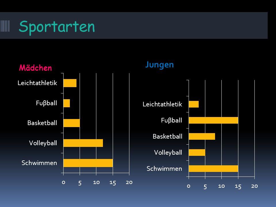 Sportarten Mädchen Wir beschreiben eine Statistik.