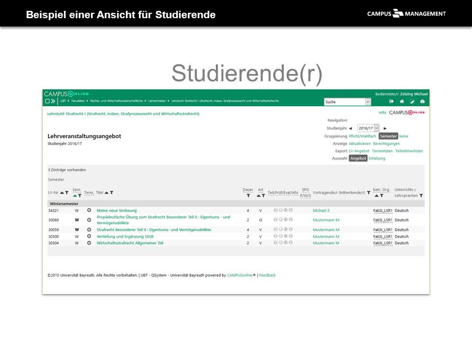 Beispiel einer Ansicht für Studierende Studierende(r)