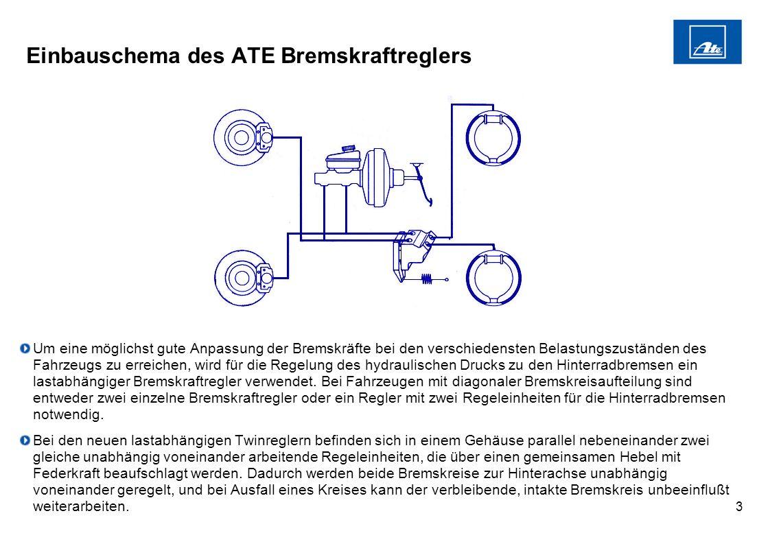 3 Einbauschema des ATE Bremskraftreglers Um eine möglichst gute Anpassung der Bremskräfte bei den verschiedensten Belastungszuständen des Fahrzeugs zu