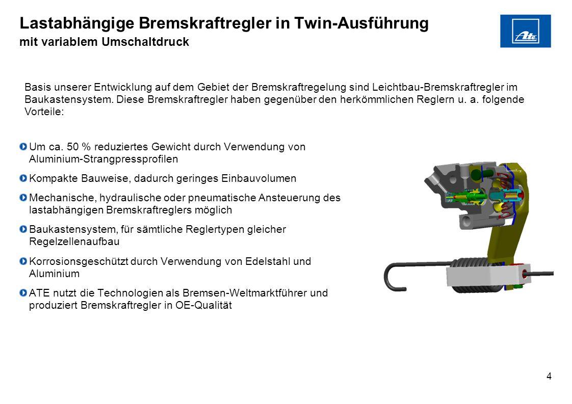 4 Lastabhängige Bremskraftregler in Twin-Ausführung mit variablem Umschaltdruck Um ca. 50 % reduziertes Gewicht durch Verwendung von Aluminium-Strangp