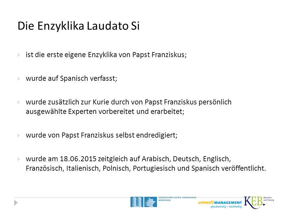 Die Enzyklika Laudato Si  ist die erste eigene Enzyklika von Papst Franziskus;  wurde auf Spanisch verfasst;  wurde zusätzlich zur Kurie durch von