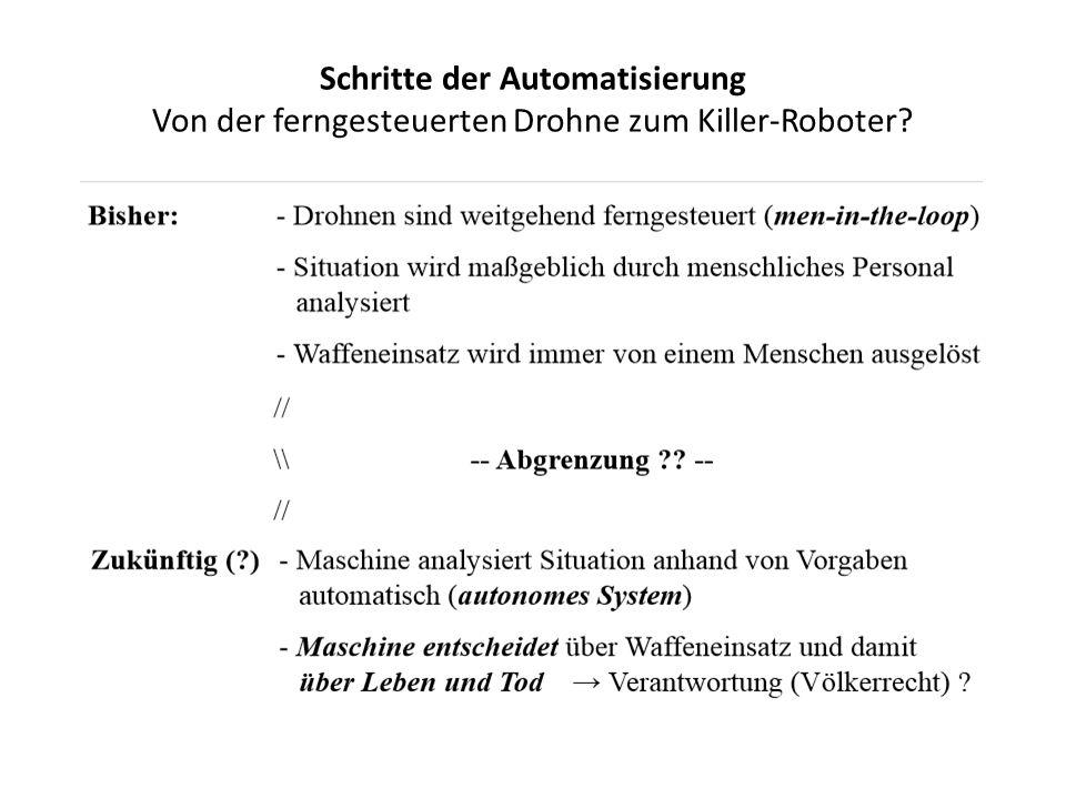 Schritte der Automatisierung Von der ferngesteuerten Drohne zum Killer-Roboter