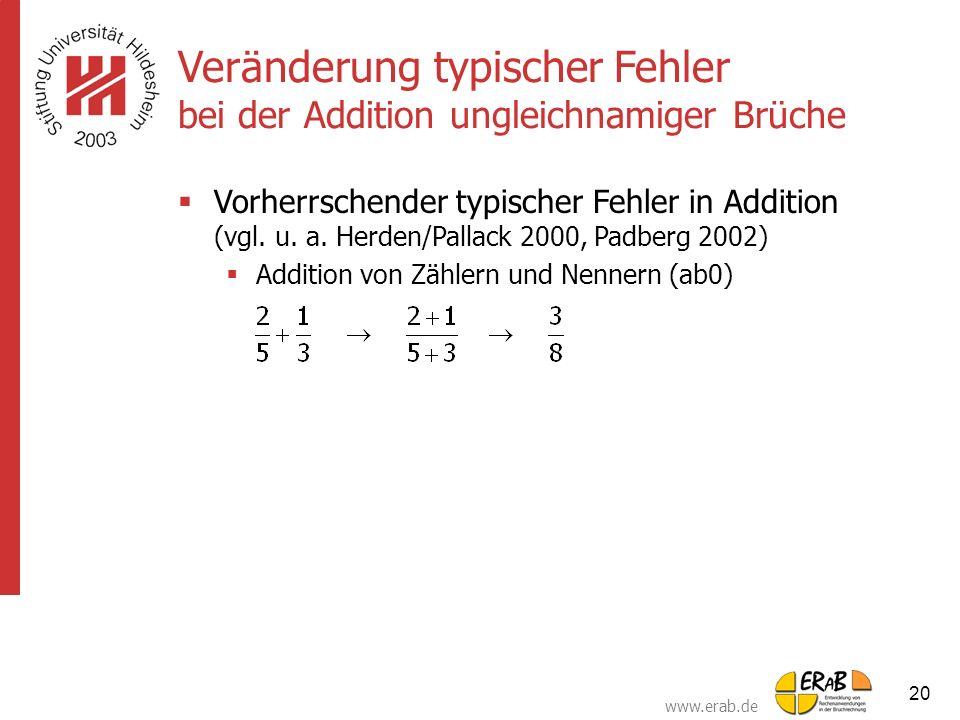 www.erab.de 20 Veränderung typischer Fehler bei der Addition ungleichnamiger Brüche  Vorherrschender typischer Fehler in Addition (vgl. u. a. Herden/