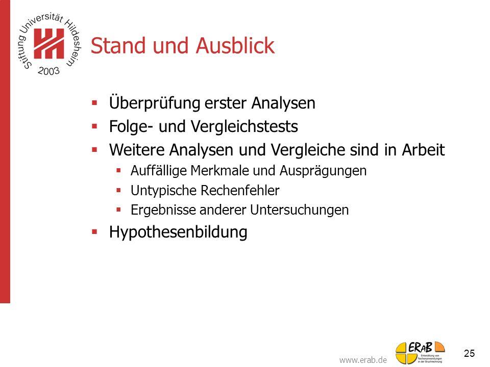 www.erab.de 25 Stand und Ausblick  Überprüfung erster Analysen  Folge- und Vergleichstests  Weitere Analysen und Vergleiche sind in Arbeit  Auffäl