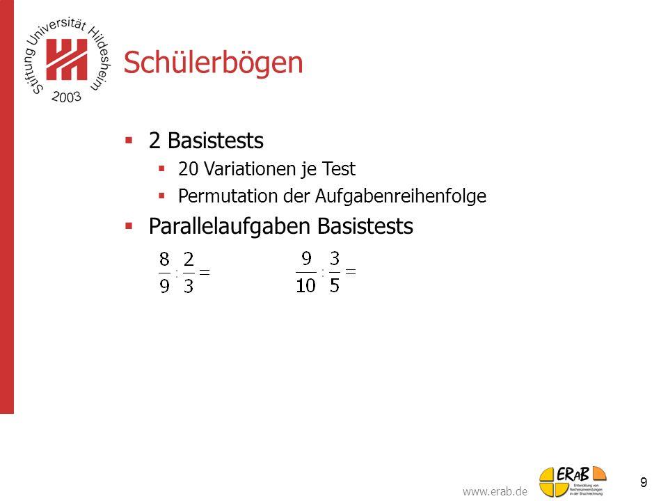 www.erab.de 9 Schülerbögen  2 Basistests  20 Variationen je Test  Permutation der Aufgabenreihenfolge  Parallelaufgaben Basistests