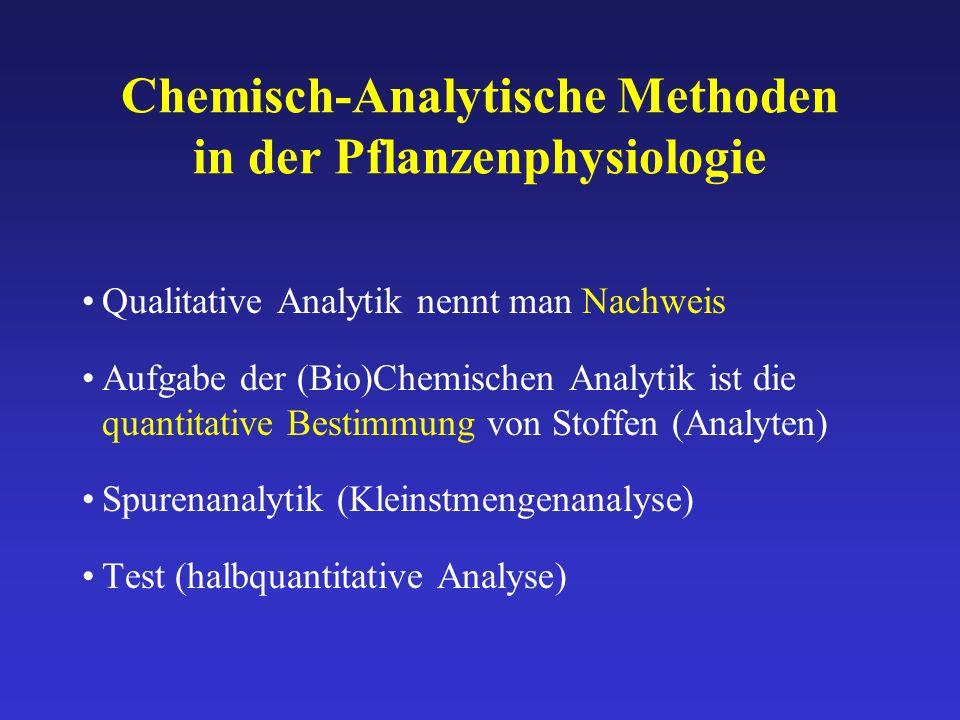 Chemisch-Analytische Methoden in der Pflanzenphysiologie Qualitative Analytik nennt man Nachweis Aufgabe der (Bio)Chemischen Analytik ist die quantita