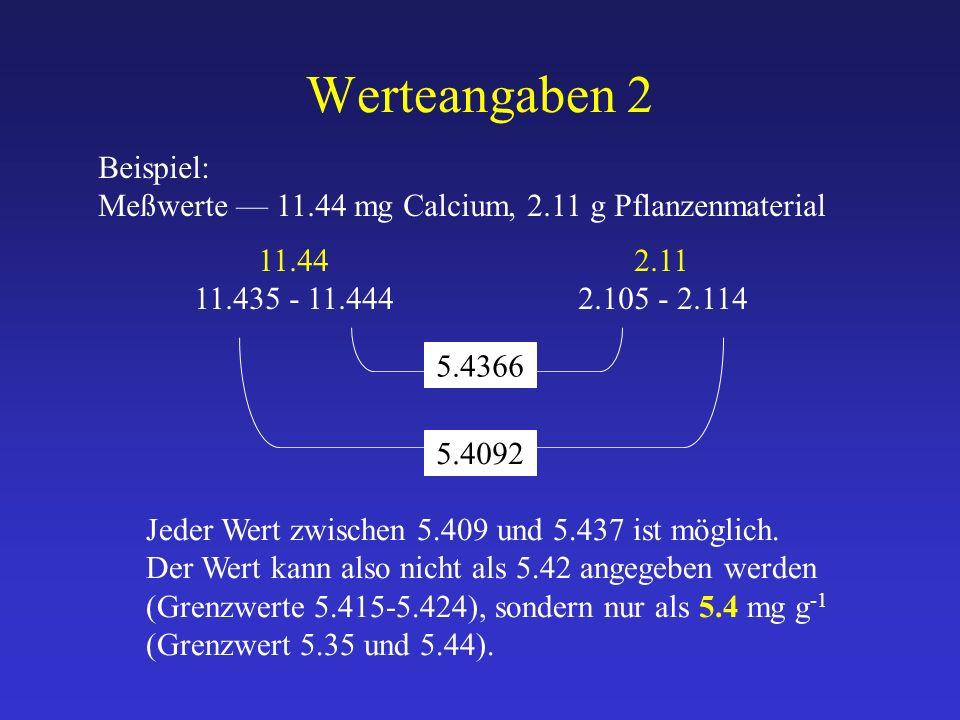 Werteangaben 2 Beispiel: Meßwerte — 11.44 mg Calcium, 2.11 g Pflanzenmaterial 11.44 2.11 11.435 - 11.4442.105 - 2.114 5.4092 Jeder Wert zwischen 5.409