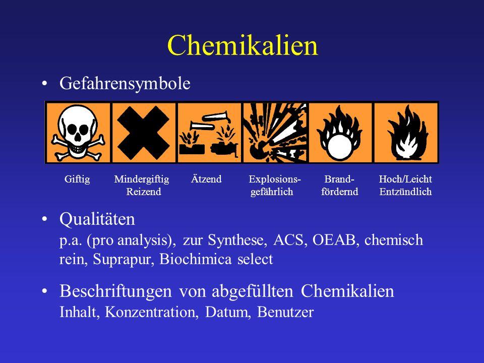 Gefahrensymbole Qualitäten p.a. (pro analysis), zur Synthese, ACS, OEAB, chemisch rein, Suprapur, Biochimica select Beschriftungen von abgefüllten Che