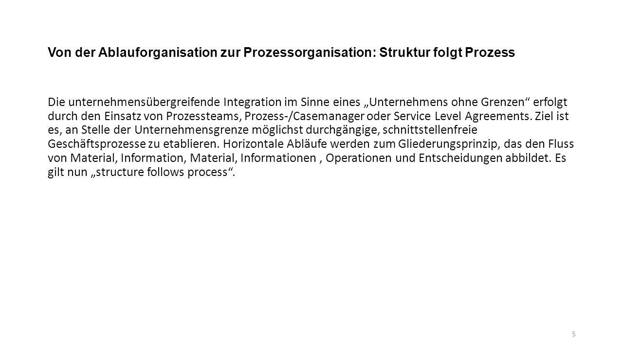 """Von der Ablauforganisation zur Prozessorganisation: Struktur folgt Prozess Die unternehmensübergreifende Integration im Sinne eines """"Unternehmens ohne Grenzen erfolgt durch den Einsatz von Prozessteams, Prozess-/Casemanager oder Service Level Agreements."""