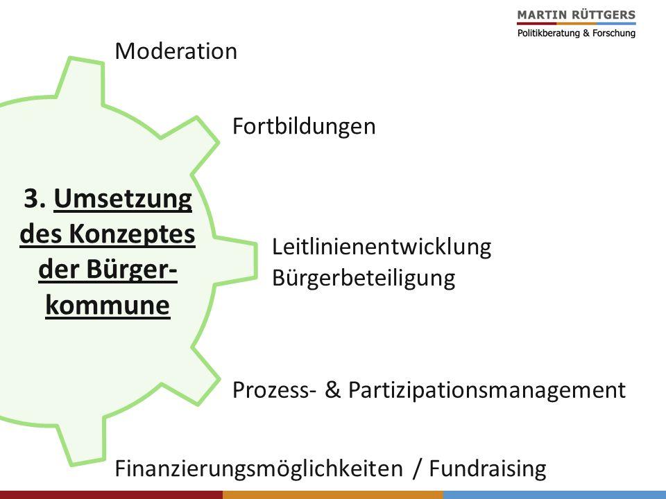 Finanzierungsmöglichkeiten / Fundraising Prozess- & Partizipationsmanagement Moderation Fortbildungen Leitlinienentwicklung Bürgerbeteiligung 3. Umset