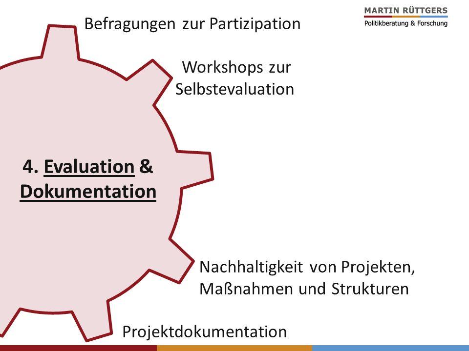 Nachhaltigkeit von Projekten, Maßnahmen und Strukturen Befragungen zur Partizipation Workshops zur Selbstevaluation 4. Evaluation & Dokumentation Proj