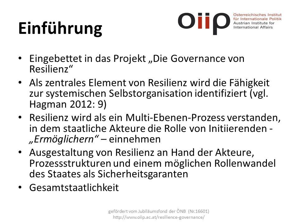 """Einführung Eingebettet in das Projekt """"Die Governance von Resilienz Als zentrales Element von Resilienz wird die Fähigkeit zur systemischen Selbstorganisation identifiziert (vgl."""