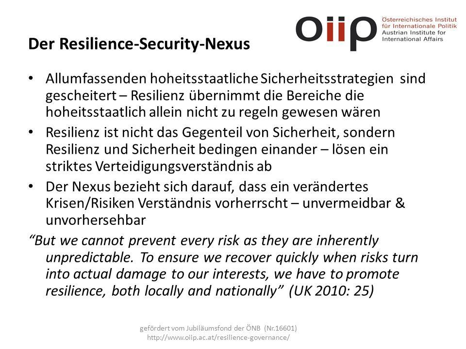 Der Resilience-Security-Nexus Allumfassenden hoheitsstaatliche Sicherheitsstrategien sind gescheitert – Resilienz übernimmt die Bereiche die hoheitsstaatlich allein nicht zu regeln gewesen wären Resilienz ist nicht das Gegenteil von Sicherheit, sondern Resilienz und Sicherheit bedingen einander – lösen ein striktes Verteidigungsverständnis ab Der Nexus bezieht sich darauf, dass ein verändertes Krisen/Risiken Verständnis vorherrscht – unvermeidbar & unvorhersehbar But we cannot prevent every risk as they are inherently unpredictable.