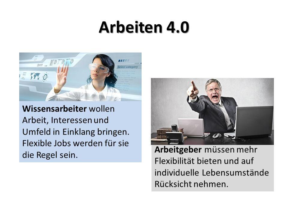 Arbeiten 4.0 Wissensarbeiter wollen Arbeit, Interessen und Umfeld in Einklang bringen.