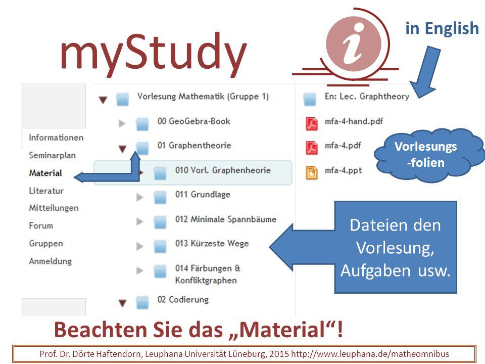 "myStudy Beachten Sie das ""Material""! Prof. Dr. Dörte Haftendorn, Leuphana Universität Lüneburg, 2015 http://www.leuphana.de/matheomnibus Vorlesungs -f"